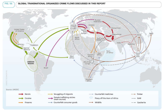 un transnational organized crime map